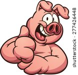cartoon pig with thumb up.... | Shutterstock .eps vector #277426448