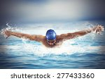 professional man swimmer swims... | Shutterstock . vector #277433360
