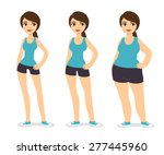 Three cartoon young women of various body types: skinny, average and chubby. The three girls wear same sets of sport clothes. Before and after.