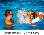 happy child and father playing... | Shutterstock . vector #277455599