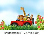 animals riding a car in the park | Shutterstock .eps vector #277464104