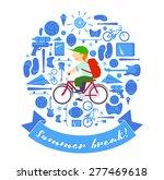 summer break schoolboy on bike | Shutterstock .eps vector #277469618