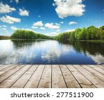 Forest Lake And Wooden Board...