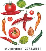 a set of watercolor vegetables  ... | Shutterstock .eps vector #277515554