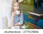 grievous woman in the coffee... | Shutterstock . vector #277515806