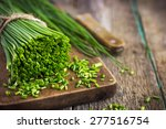Bunch Of Fresh Chives On A...