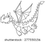 Outlined Flying Dragon. Vector...