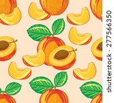 seamless pattern of ripe peach... | Shutterstock .eps vector #277566350