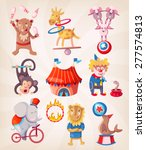 colorful circus animals present ... | Shutterstock .eps vector #277574813