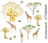 baobabs and giraffes....   Shutterstock . vector #277580669