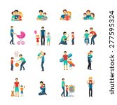 fatherhood flat icons set with... | Shutterstock .eps vector #277595324