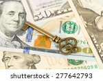 antique key on dollar banknote...   Shutterstock . vector #277642793