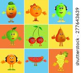 colorful healthy happy fruit... | Shutterstock .eps vector #277643639