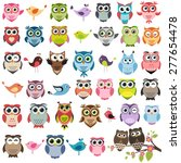Set Of Color Cartoon Owls And...