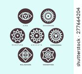 seven chakras on the mint and... | Shutterstock .eps vector #277664204