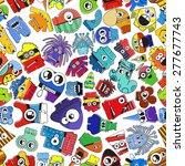 monsters   seamless pattern.... | Shutterstock .eps vector #277677743