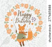 sweet happy birthday card with... | Shutterstock .eps vector #277685888