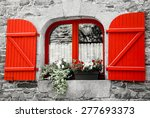 Old Stone House With Red Wooden ...