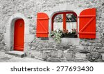 Old Stone House With Red Woode...