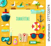 traveling icon set with summer... | Shutterstock .eps vector #277722074
