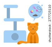 Stock vector pet stuff cat with different toys vector flat illustration 277725110