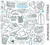 Stock vector laundry themed doodle set various equipment and facilities for washing drying and ironing 277753463