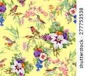 watercolor wild exotic birds on ... | Shutterstock .eps vector #277753538