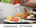 chef decorated hamburger ... | Shutterstock . vector #277762460