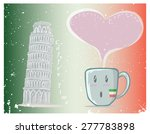 coffee cup and drawing of pisa... | Shutterstock .eps vector #277783898