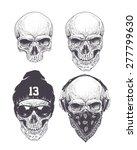 dotwork styled skulls isolated... | Shutterstock .eps vector #277799630