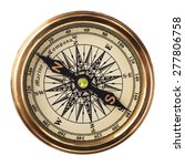 vintage brass compass isolated... | Shutterstock . vector #277806758