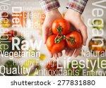 hands holding fresh juicy... | Shutterstock . vector #277831880