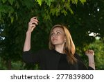 young blond woman taking selfie ... | Shutterstock . vector #277839800