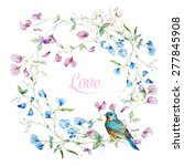 Vector Watercolor Wreath With...