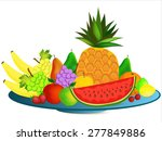 Colorful Healthy Cartoon Fruit...