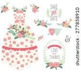 bride floral wedding dress set | Shutterstock .eps vector #277858910