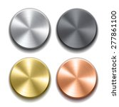 set of realistic metal buttons...