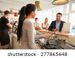 young man ordering at the... | Shutterstock . vector #277865648
