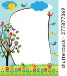 colorful frame with flowers and ... | Shutterstock .eps vector #277877369