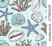 seamless pattern with shells ... | Shutterstock .eps vector #277893329