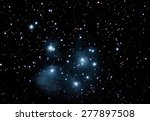 Small photo of Pleiades Famous Seven Sisters Maia, Electra, Taygete, Alcyone, Celaeno, Sterope, Merope beautiful night sky