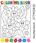 coloring book with flower theme ... | Shutterstock .eps vector #277902818