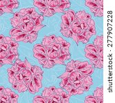 peony seamless vector pattern... | Shutterstock .eps vector #277907228