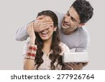man surprising a woman with a... | Shutterstock . vector #277926764