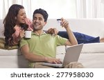 married couple with credit card ...   Shutterstock . vector #277958030