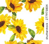 Seamless Watercolour Sunflower...