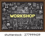 business doodles on chalkboard... | Shutterstock .eps vector #277999439