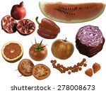 red fruits and vegetables on a... | Shutterstock . vector #278008673