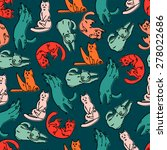 funny cats seamless pattern | Shutterstock .eps vector #278022686