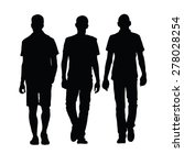 Man Walking Three Black...